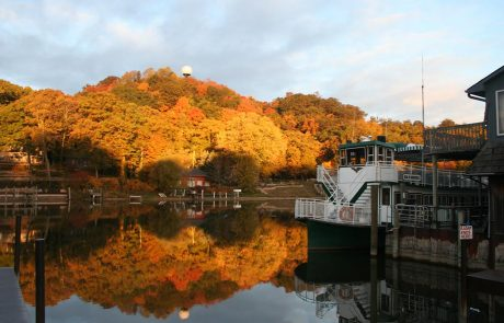 Fall Colors on Mt. Baldy with Star of Saugatuck in Dock