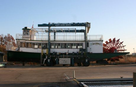 Star of Saugatuck out of the water in dry dock