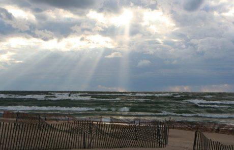 Storm approaching over Lake Michigan