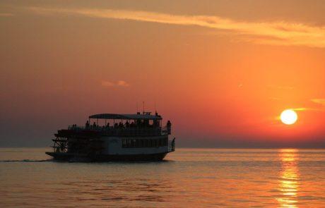 Sunset on Lake Michigan looking at The Star of Saugatuck